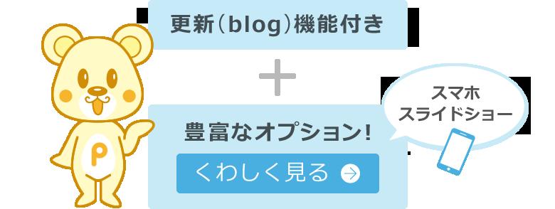 さらに更新(blog)機能・豊富なオプション付き オプションについて詳しく見る